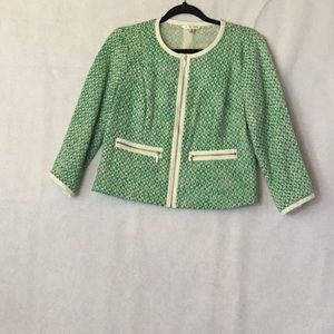 CABI CLOVER TWEED GREEN KNIT CROP BLAZER